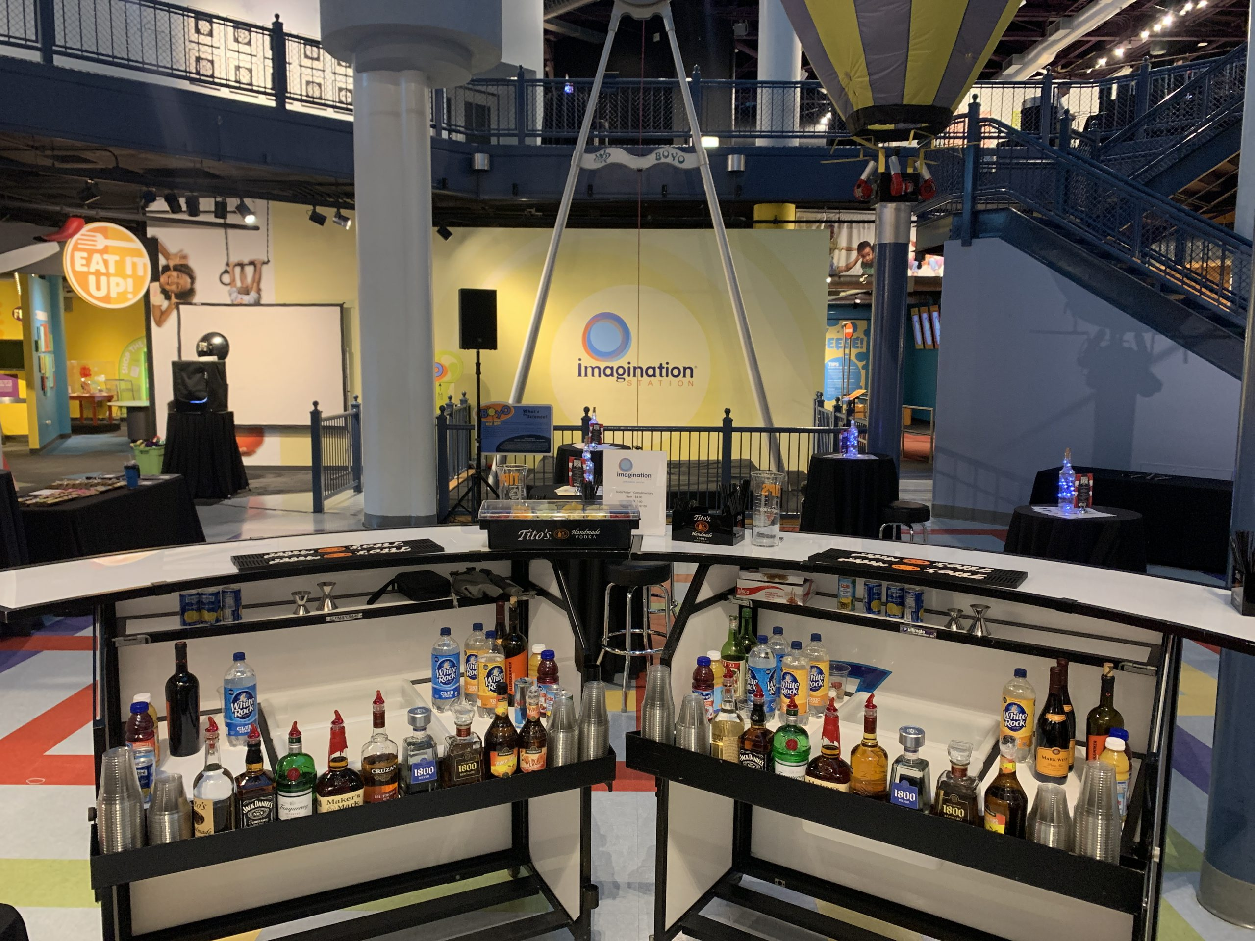 Two fully stocked portable bars ready for an event at Imagination Station in Toledo, OH