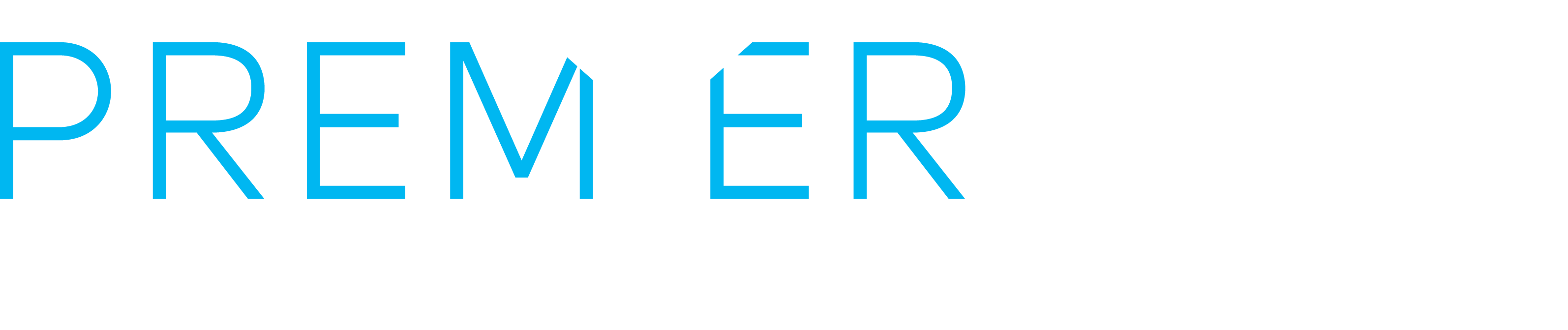 Premier Pour Bartending logo, light blue 'Premier' with white martini glass and white 'Pour'