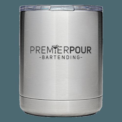 Custom Premier Pour Bartending Stainless Steel YETI Rambler Lowball 10oz Mug with Premier Pour Bartending logo